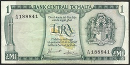 MALTA - 1 Lira 1967 (1973) P# 31f Europe Banknote - Edelweiss Coins - Malta