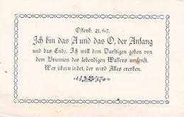 Gebetszettel - Offenbarung 21, 6-7 - Ich Bin Das A Und Das O - Ca. 1920  (31770) - Religion & Esotérisme