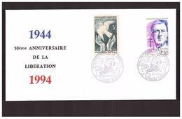 FDC France Seconde Guerre Mondiale WWII Cachet 26 Aout 1944 1994 50e Anniversaire Liberation Clermont Ferrand - Guerre Mondiale (Seconde)