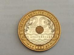 1993 France French Mediterranean Games 20 Francs - Ex Fine - L. 20 Francs
