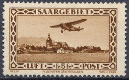 Stamp  Saar 1932 5fr MLH - Posta Aerea