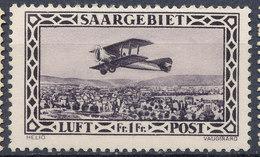 Stamp  Saar 1928 1fr MLH - Posta Aerea