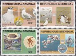 Senegal 1981 Tiere Fauna Animals Vögel Birds Schildkröten Turtles Nationalparks Naturschutz, Mi. 741-4 ** - Senegal (1960-...)
