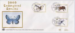 United Nations Cancellations Vienna, Geneva And NY - 2009 - FDC Endangered Species - Silk - Butterfly - Spider - Souther - Gezamelijke Uitgaven New York/Genève/Wenen