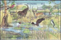 Namibia 1998 Tiere Fauna Animals Vögel Birds Antilopen Antelopes Reptilien Reptiles Caprivi-Zipfel, Bl. 44 CTO - Namibia (1990- ...)