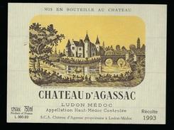 Etiquette Vin    Chateau D'Agassac   Haut Medoc   Ludon Médoc  1993 - Bordeaux