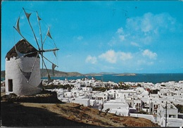 GRECIA - MIKONOS - PANORAMA - VIAGGIATA 1979 FRANCOBOLLO ASPORTATO - Grecia