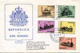 SAN MARINO  -  1964 Old Locomotives    FDC1268 - FDC