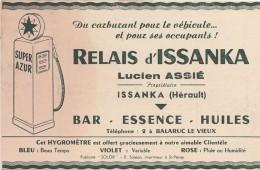 L10- 34) ISSANKA (HÉRAULT) RELAIS D'ISSANKA LUCIEN ASSIÉ - BAR - ESSENCE - HUILES - POMPE A ESSENCE SUPER AZUR - 2 SCANS - Francia