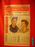 CAL1    P0413 .CALENDRIER 1958 .APPELEZ  LES  POMPIERS  DE PAULHAN  39 X 24 - Calendriers