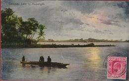 Sri Lanka Ceylon Colombo Lake By Moonlight 1910 Old Postcard Asie  Asia Azie (fold) - Sri Lanka (Ceylon)