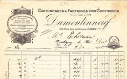 PARIS 4° - CARTONNAGES POUR CONFISEURS - DUMOULINNEUF, 52 Rue Des Archives  Facture De 1925 - N°4 - Printing & Stationeries