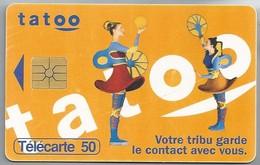 FR.- France Telecom Mobiles. Tatoo. Votre Tribu Garde Le Contact Avec Vous. Telecarte 50. 2 Scans - Frankrijk