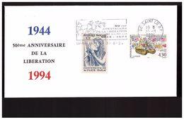FDC France Seconde Guerre Mondiale WWII Cachet 31 Aout 1994 1944 50e Anniversaire Liberation Ville Saint Lo - Guerre Mondiale (Seconde)