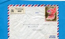MARCOPHILIE-lettre REC MAKOUA -CONGO>Françe  Cad Au Dos 1975-stamps Non Oblitérés Départ -cachet Linéaire Arr LES ABRETS - Marcophilie (Lettres)