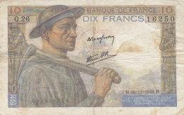 Billet 10 F Mineur Du 26-11-1942 FAY 8.6 Alph. Q.26 - 1871-1952 Circulated During XXth