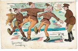 Gymnastique - Fantaisie Militaria- Belge- Signee H.M - Humour