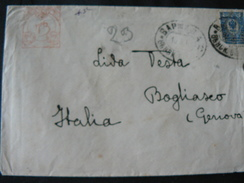 1900..ANCIENT  LETTER + POSTAGESTAMP + RED STAMP  OF HIGH VALUE..///..LETTERA DA RUSSIA + FRANCOBOLLO +TIMBRO ROSSO - 1857-1916 Empire