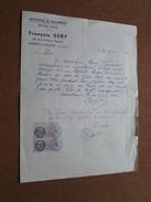 Entreprise De Maçonnerie Béton Armé François GERY Montluçon ( Allier ) Anno 1944 ( Lettre - Voir Photo ) ! - France