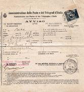 R183 - Avviso Di Ritorno Di Raccomandata Del 1919 Da Brisighella A Brisighella Con Cent. 15 Ardesia (Michetti) - 1900-44 Vittorio Emanuele III