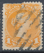 Stamps  Canada 1868 1c Large Used - 1851-1902 Règne De Victoria