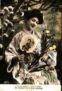 Femme 640 L'iris Au Japon éventail Japonais - Donne