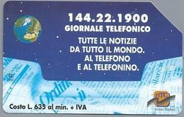 IT.- CARTA TELEFONICA. LIRE 10.000. 144.22.1900 GIORNALE TELEFONICO TUTTE LE NOTIZIE DA TUTTO IL MONDO. NTC 2 Scan - Italië