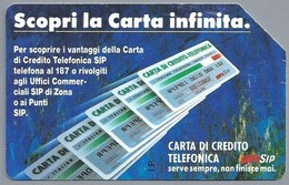 IT.- SIP. CARTA TELEFONICA. LIRE 5.000. SCOPRI LA CARTA INFINITA. 2 Scans. - Italië