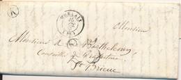 Lettre De Porbras Près Morlaix (29 Finistère) 1853 Tampon Boite Rurale K Pour Saint Brieuc (22) 25 Centimes - 1849-1876: Période Classique