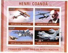 Togolaise  -  Henri Coanda  -  Ingénieur Aéronautique Roumain  -  4v MS Neuf/Mint MNH - Flugzeuge