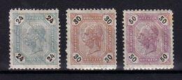 AUSTRIA / ÖSTERREICH - 1891 - 24 + 30 + 50 Kr (Mi. 64 P II - 66 P II) Mit LACKSTREIFEN - 3 TIMBRES / 3 STAMPS (ab204) - Nuevos