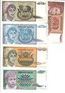 YUGOSLAVIA UNC Lot 5 Banknotes 1991-93 Pick 108/112/116/117/118 - Yugoslavia