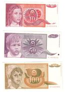 YUGOSLAVIA UNC Lot 3 Banknotes 1990 Pick 103/104/105 - Yugoslavia
