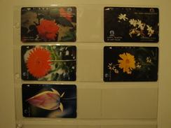 5 Tamura Phonecards From Indonesia - Flowers - Indonesia