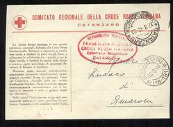 COMITATO CROCE ROSSA DI CATANZARO 1948 - CARTOLINA  IN CUI SI COMUNICA CHE IL SERVIZIO PER AUTOAMBULANZA E' A PAGAMENTO - Croce Rossa