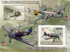 Comores- Avions Militaires 1939-1945  -  Boeing B-27 - SBD Dauntless - Mitsubishi A6M5  -  1v MS Neuf/Mint MNH - Aerei