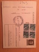 CARTOLINA POSTALE-CIRÒ-CATANZARO-14-5-1947- INTERO POSTALE CENT.30 +DEMOCRATICA LIRE 1X4 - 1946-60: Poststempel