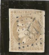 CERES N° 43B  10 Cts Brun Jaune 110€ Filet Touché - 1870 Emission De Bordeaux