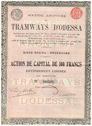 Action Ancienne - Société Anonyme De Tramways D' Odessa - Titre De 1912 - - Ferrocarril & Tranvías