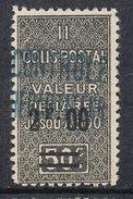 ALGERIE COLIS POSTAL N°18 N**  Variété Surcharge Bleue - Algérie (1924-1962)