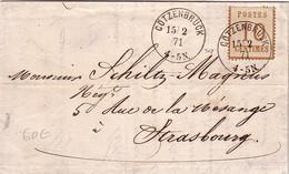 ALSACE LORRAINE - 10c - COTZENBRUCK - 15-2-1871 - LETTRE POUR STRASBOURG (R) - Alsace Lorraine
