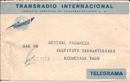 TELEGRAMA TRANSRADIO INTERNACIONAL COMPAÑIA ARGENTNA DE TELECOMUNICACIONES S.A. AÑO 1942 COMPLETO DIRIGIDO AL PRESIDENTE - Storia Postale