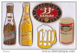 6 Pin's Bières Beers, Miller, Budweiser, 33 Export Signé Y. Delsart - Beer