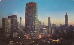 New York City Midtown Manhattan Skyline At Night 1953