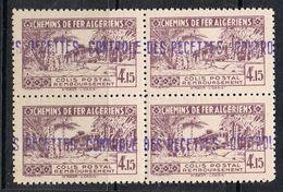 ALGERIE COLIS POSTAL N°90 N** En Bloc De 4 - Algérie (1924-1962)