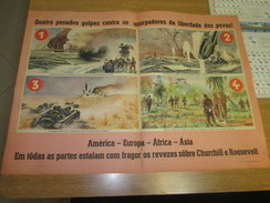 Poster Affiche WWII Deuxieme Guerre Mondiale Europe Asia Africa UK Japan Germany USA - Posters