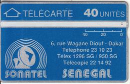 SENEGAL(L&G) - SONATEL Logo & Adress(40 Units), CN : 205G, Tirage 20000, Used - Senegal