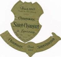 étiquette De Vin De Champagne à  EPERNAY   -   SAINT CHAMANT 1987  ( Recto Verso ) - Champagne