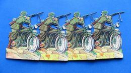 Gioco Vintage - Soldatini In Cartoncino Ritagliati - Moto Mitraglieri - 1935 Ca. - Giocattoli Antichi