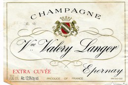étiquette De Vin De Champagne à  EPERNAY   -   VALERIE LANGER   ( Recto Verso ) - Champagne